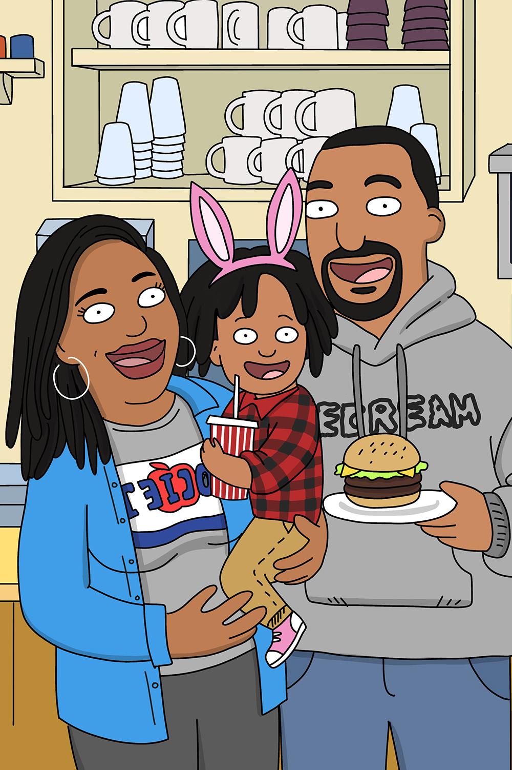 Burgers style custom cartoon portrait