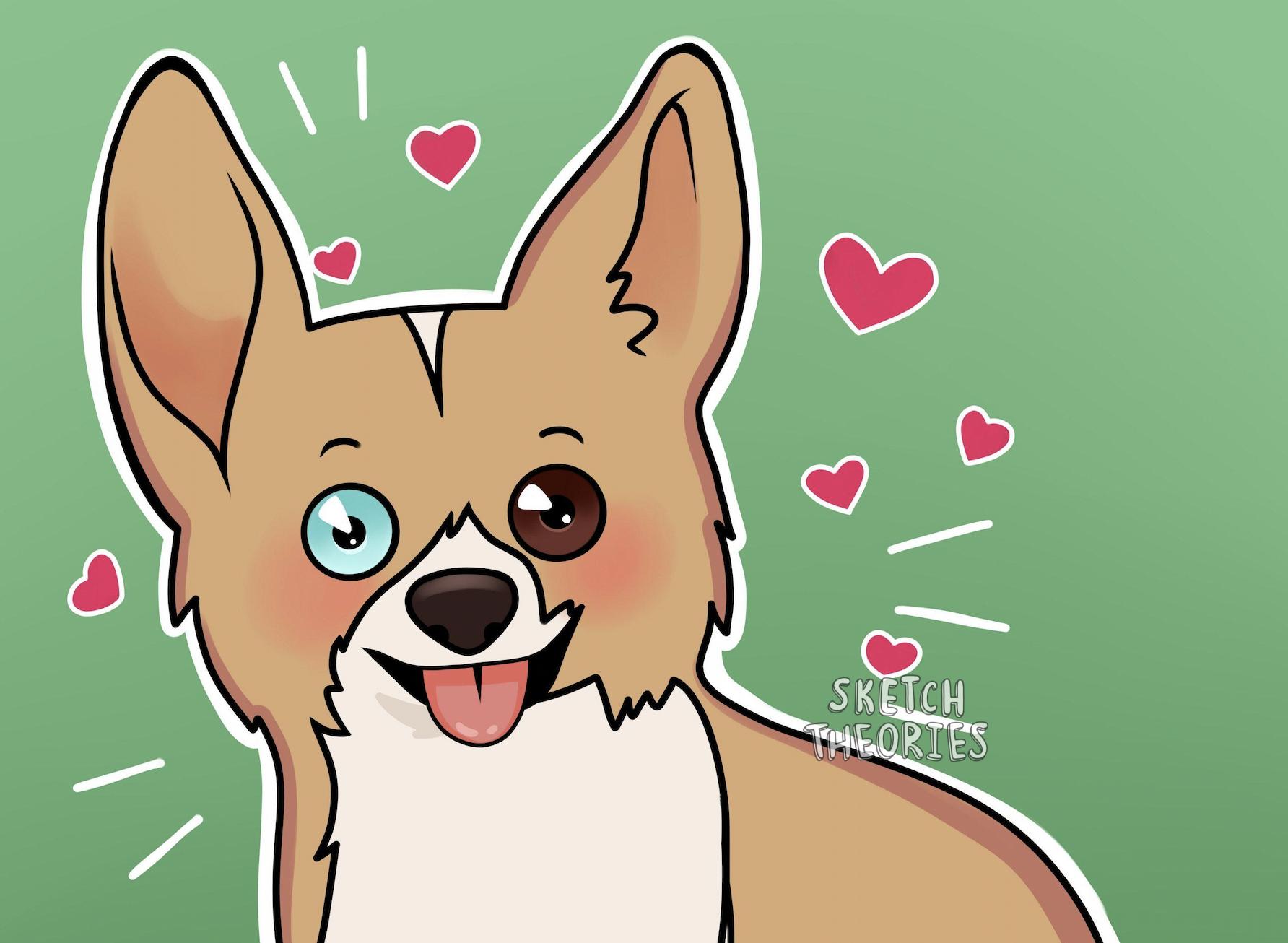 Custom anime pet portrait
